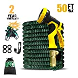 Expandable 50ft Garden hose Upgraded,Extra Strength, 3/4 Solid Brass Fittings 9 Pattern Spray Nozzle Water Shrinking Hose, Flexible Expanding Hose with Bonus Hose Splitter