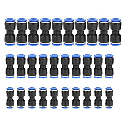 30 pcs Straight Push Connectors Plastic Quick Release Connectors Air Line Fittings for 1/4 5/16 3/8 Tube