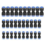 30 pcs Straight Connector Quick Release Plastic Push Connectors Air Line Fittings for 1/4 5/16 3/8 Tube