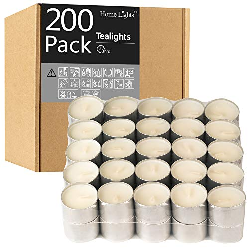 HomeLights Tealight Candles - 8 Hour Long time Burning, Giant 100,200,300 Packs -White Smokeless European Tea Light Unscented Candles for Shabbat, Weddings, Christmas,Home Decorative -200 Pack