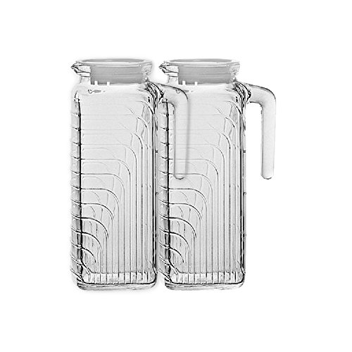 Bormioli Rocco Gelo Glass 1.2 Liter Jug with White Lid, Set of 2