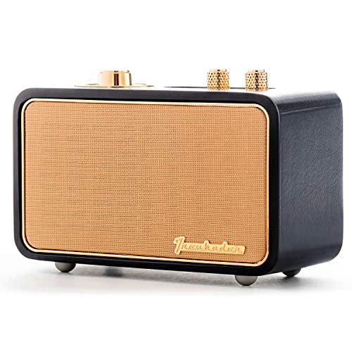 Trenbader Artlink Wireless Bluetooth Speaker Customizable Rechargeable with Radio Aux. Retro Style for Home Office, Travel, and Outdoor. (Wireless Bluetooth Speaker Black)
