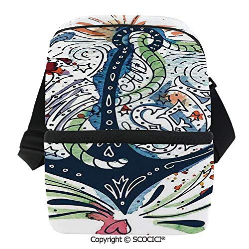 SCOCICI Collapsible Cooler Bag Ornate Ship Anchor with Sun Heart and Sea Lettering Mooring Tourists Naval Summer Art Design Insulated Soft Lunch Leakproof Cooler Bag for Camping,Picnic,BBQ