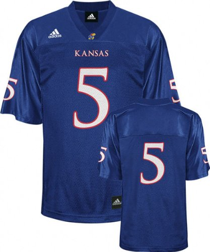 low priced 41e3f ebf3a Amazon.com : Kansas Jayhawks Football Jersey: adidas #5 Blue ...