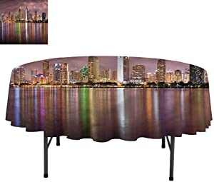 """Aishare Store USA Water Resistant Spill Proof Washable Polyester Table Cloth, San Diego Riverside Panorama, Decorative Fabric Table Cover for Dining Table, Round 50"""""""