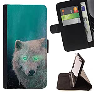 - White Wolf Green Eyes Alien Forest Magic - - Prima caja de la PU billetera de cuero con ranuras para tarjetas, efectivo desmontable correa para l Funny HouseFOR Samsung Galaxy Note 3 III