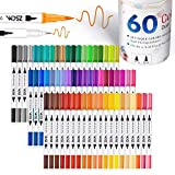 ZSCM 60 Colors Dual Tip Brush Pens Art Markers Set, Fine and Brush