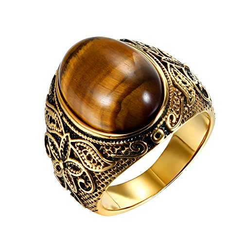 (Stainless Steel Mens Classic Ring Bands,Imitation Tiger Eye Inlaid,Size 9)