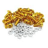 uxcell 30pcs M6 Gold Tone Aluminum Alloy Hex Socket Head Motorcycle Bolts Screws Nuts