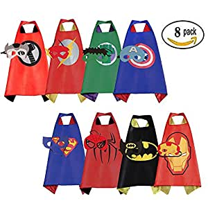 Mizzuco 8 PCS Satin Capes Cartoon Dress up Costumes with Felt Masks for Kids