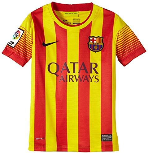 Nike FC Barcelona BOYS SHORT SLEEVE AWAY REPLICA JERSEY (VIBRANT YELLOW) (XS)
