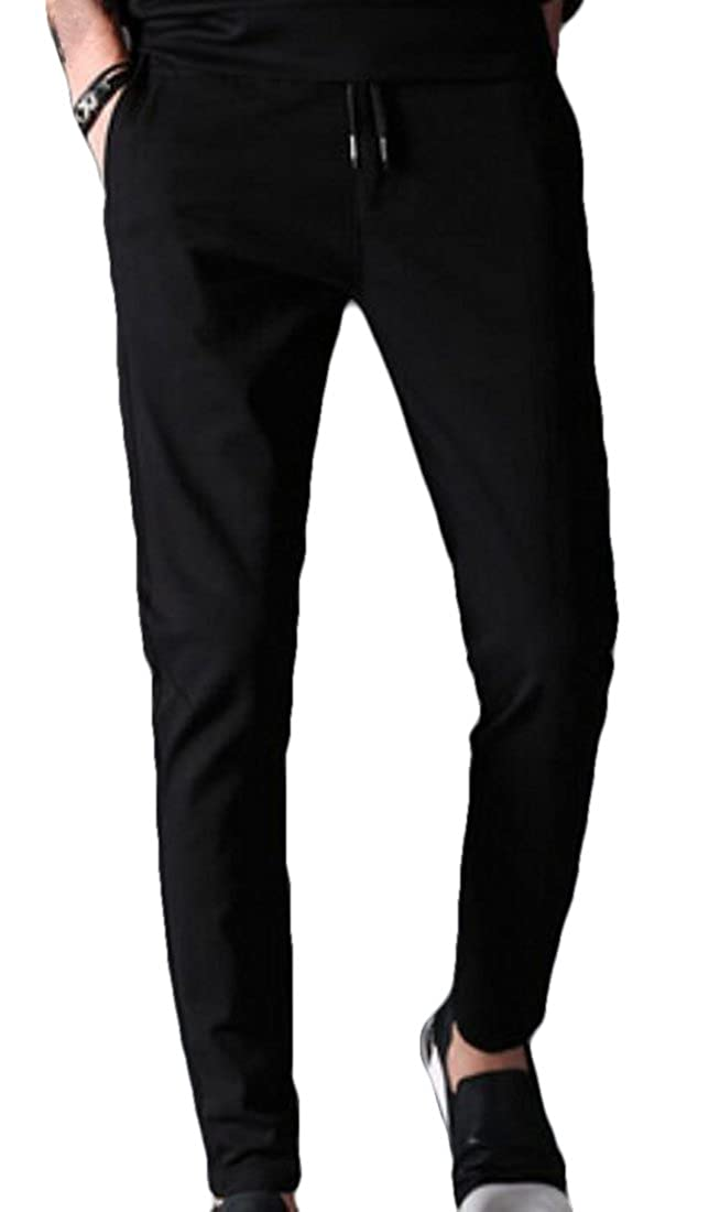Yaolor-Men Sport Cotton Drawstring Loose Running Jogger Harem Pants