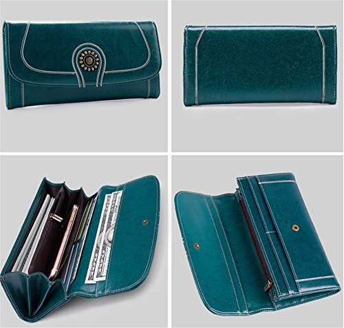Xinmaoyuan Damen Geldbörsen Rindleder lange Wallet große Kapazität Dokumentenportal Handy Tasche Retro Lady Wallet, Blau Blau
