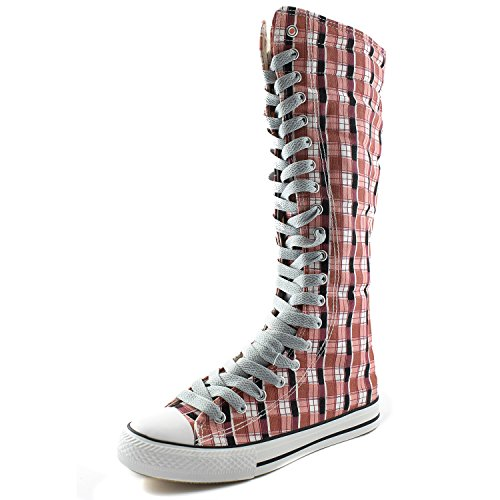 DailyShoes Womens Canvas Mid Calf Tall Boots Casual Sneaker Punk Flat, Pink Wht Plaid Boots, Clean Grey Lace,10 B(M) US