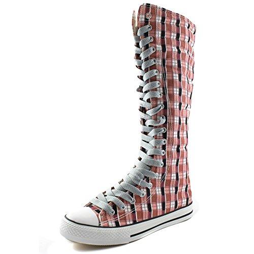 Dailyshoes Toile Femme Mi-mollet Bottes Hautes Casual Sneaker Punk Plat, Rose Bottes À Carreaux Wht, Propre Dentelle Grise, 11 B (m) Us
