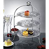 3 Tier Round Serving Platter, Three Tiered Cake Tray Stand, Food Server Display Plate Rack, Crystal Clear, With silver stand, Dessert Server Stand/ Cupcake Tower / Appetizer Serving Tray
