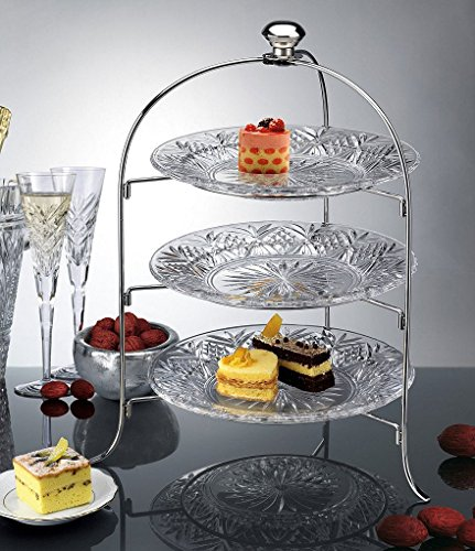 (3 Tier Round Serving Platter, Three Tiered Cake Tray Stand, Food Server Display Plate Rack, Crystal Clear, with Silver Stand, Dessert Server Stand/Cupcake Tower/Appetizer Serving Tray)