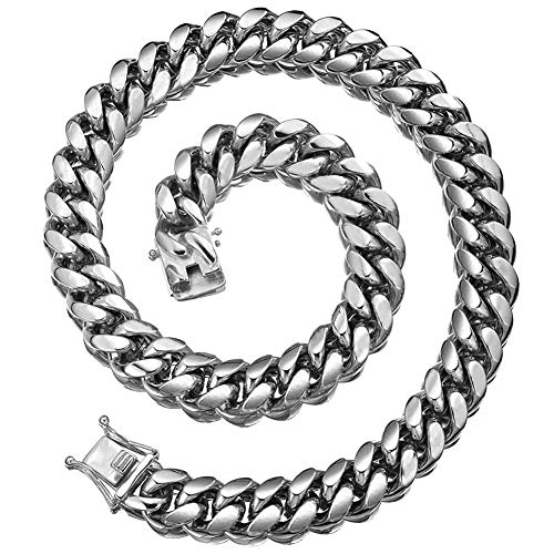 Jewelry Kingdom 1 Mens Necklace Sterling Silver Chain Miami Cuban Link Chain for Men's Jewelry, Necklace for Women, 316L Stainless Steel(22inches Length and 12MM ()