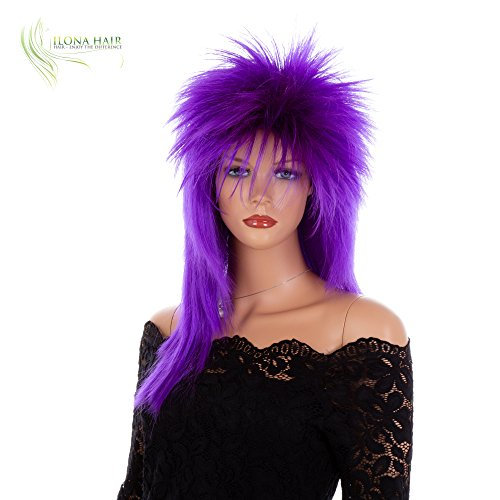 Punk Rocker Rockstar Glam Colorful Wig for Party Halloween Off-White Black Green Pink Purple Red (DF7) ()