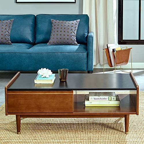 MUSEHOMEINC Solid Wood Rectangle Coffee Table with Storage Drawer for Living Room Mid-Century Modern Style/Cuprum Leg Base Design/Cocktail Height, Black and Walnut Finish