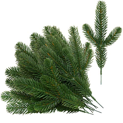 Sunm boutique Christmas Artificial Pine Picks Garland, Pine Leaves Pines Twig Pine Needles Spray, Faux Pine Greenery Stems for Christmas Winter Wedding Garden ()