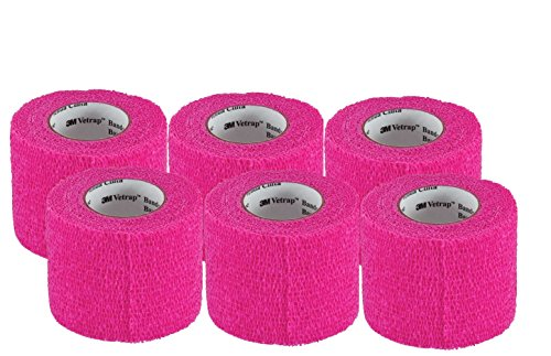 3M Vetrap 2'' Bandaging Tape, 2''x 5 Yards (6-Pack, Hot Pink) by 3M Vetrap