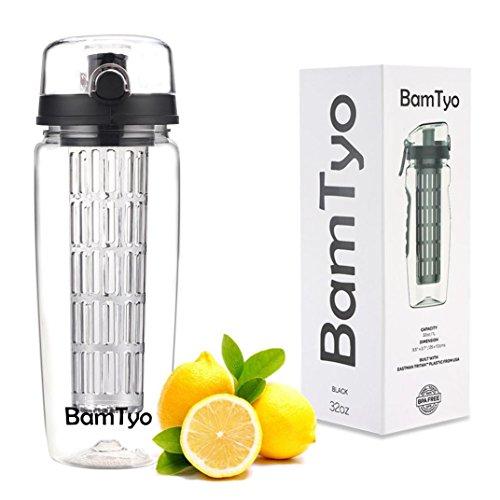 (BamTyo Fruit Infuser Water Bottle 32 oz. 2-in-1 Sport Bottle, BPA Free Tritan, Flip Lid, Leak Proof Design, Larger Dual Hand Grips,2-in-1 Infuser Water Bottle (Charcoal Black))
