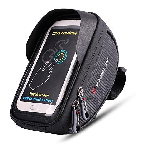 MOOZO 自転車ハンドルバーバッグ 自転車電話マウント サイクリングフレームバッグ トップチューブポーチホルダースタンド iPhone Xs X 8 7 6 6S Plus Samsung Galaxy S8 S7 Edge S6 Edge Plus S6 LG HTC Sonyスマートフォン用 6インチ以下  ブラック B074CZPZV7