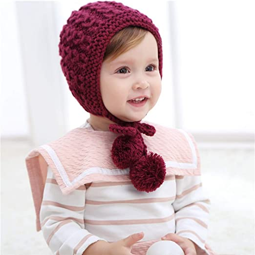 994c983639f Baby Girl Winter Warm Hat Hand Made Knit Two Pom Autum Winter Hat Beanie  Infant Toddler