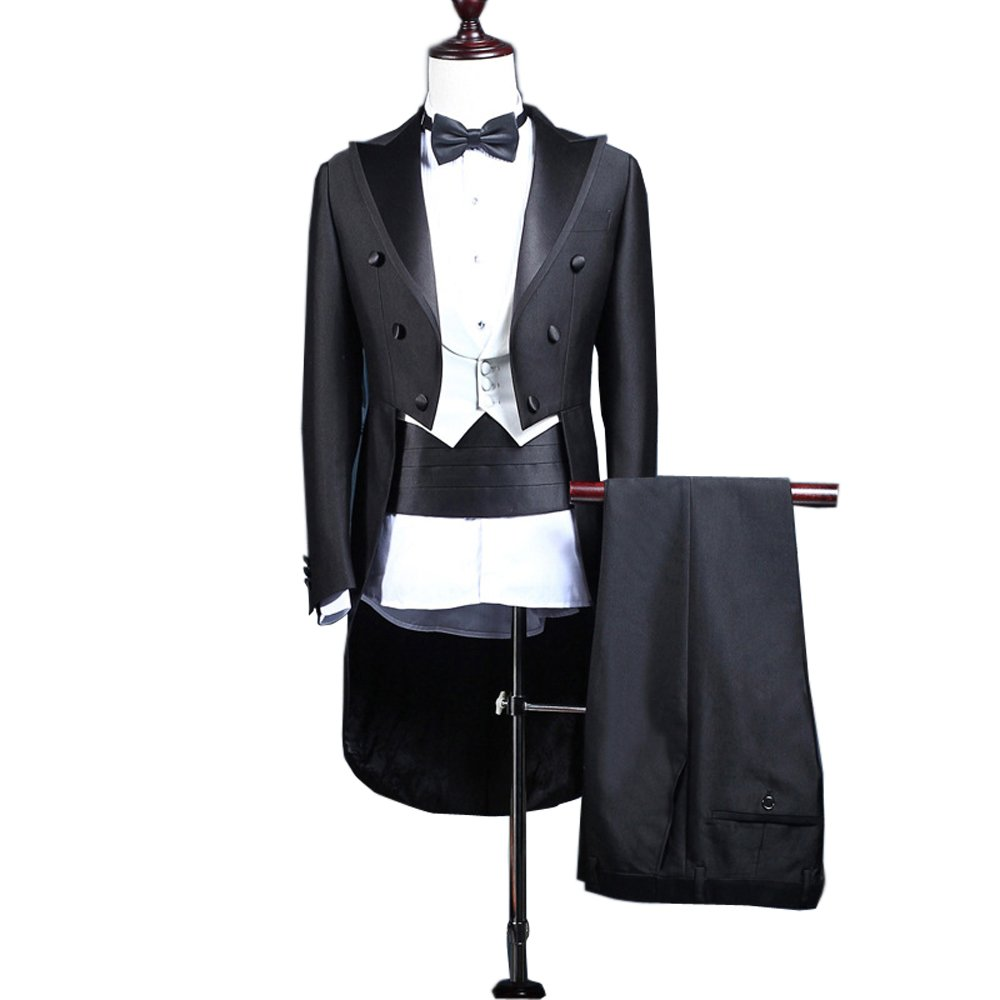 kelaixiang Black One Button Tailcoat Groom Tuxedos 3 Pieces Wedding Suit for Men