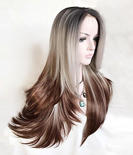 Goodyard Bambi Ombre 3 Tone Chocolate Color Wigs Very Full With A Pretty Layer Cut Long Straight Wig, Lace Front Synthetic Wig 51hI8u9ERzL