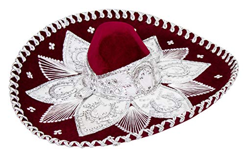 Mexican Adult Mariachi Sombrero Hat, 5 de Mayo (Burgundy and White) -