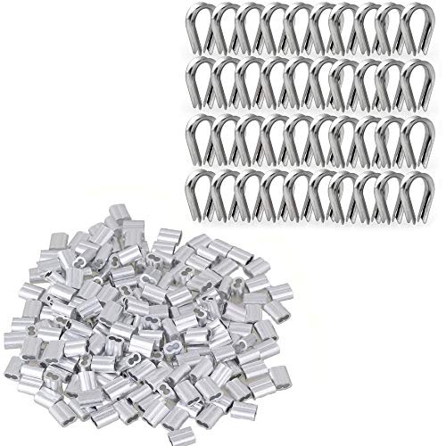 (TooTaci 200 pcs 1/16-inch Aluminum Wire Rope Sleeves Clips Aluminium Cable Crimps + 40 pcs M2 304 Stainless Steel Thimble)