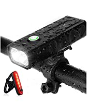 Strontex Bike Lights Front and Back Rechargeable Set, 1000 lumens, LED, Flashlight with 3 Modes, IPX5 Waterproof Bike Light, Ultra Bright Bike Taillight, Red High Intensity red LED Tail Light.