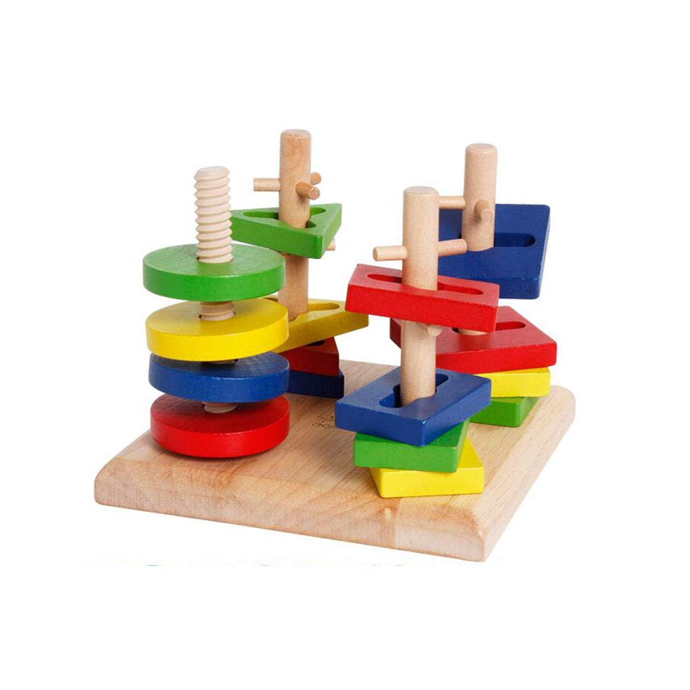 Dall Plugging Toys Sorting Stacking Geometric Shapes Block Board Stack Sort Chunky Puzzle Wooden Educational Toddler Toys