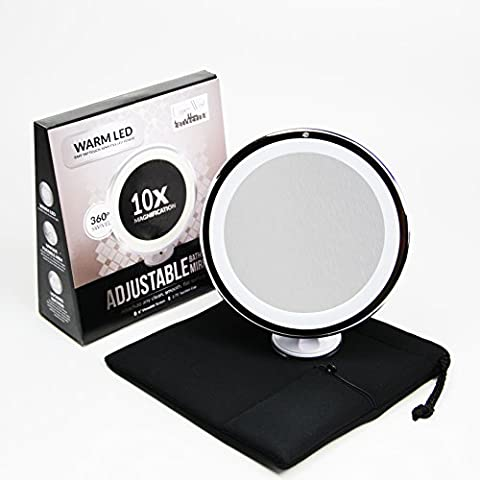 10x Magnifying Lighted Makeup Mirror. Warm LED Tap Light Bathroom Vanity Mirror. Wireless & Compact Travel