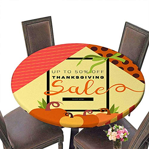 Foot&Mark-Tablecloth Polyester Round Tablecloths,Thanksgiving (Autumn Fall) Sale brochure Design Layout Banner Poster Flyer for Indoor and Outdoor Use up to 43.5