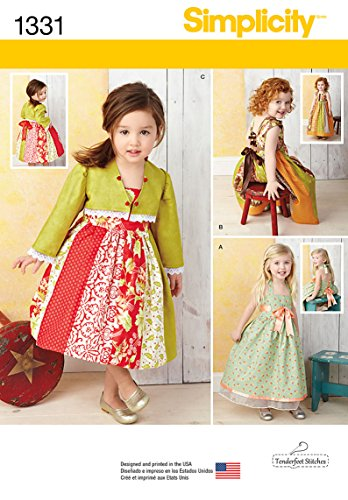 Simplicity Tenderfeet Stitches Pattern 1331 Toddlers Dress and Bolero Sizes 1/2-1-2-3-4