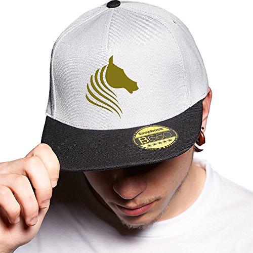 Horse Lovely Glowing Grey Black Cap Original Gorra Snapback Unisex, Ajustable, con Visera Plana y Logotipo Urbano Bordado.