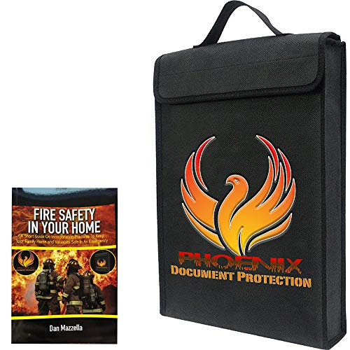 Fireproof Document Bags Waterproof Home Safe Document Fire Safe Bonus Book Included Portable Safe 11 x 15 x 2.5  (Fire Phoenix Safe)