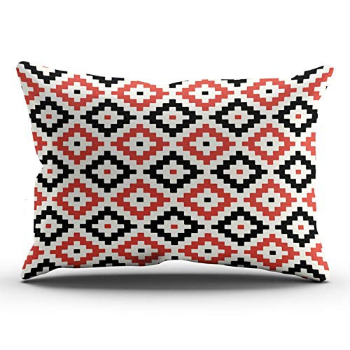 - WULIHUA Throw Pillow Covers White Red Black Cream Mayan Stepped Pattern Lumbar Outdoor Cushion Cover Pillowcase Size 12x24 Inch One Sided Printed Chic Fashion Design