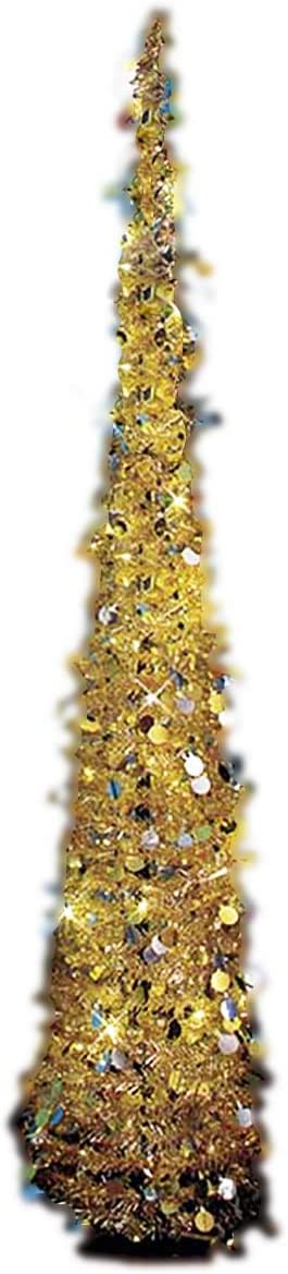 """Affordable, Collapsible 65"""" Lighted Christmas Trees in Gold/Silver for Small Spaces with Timer"""