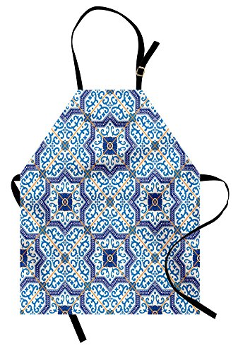 pron, Moroccan Portuguese Style Classic Tiles Ornaments Asian Historical Buildings Art, Unisex Kitchen Bib Apron with Adjustable Neck for Cooking Baking Gardening, Blue White ()