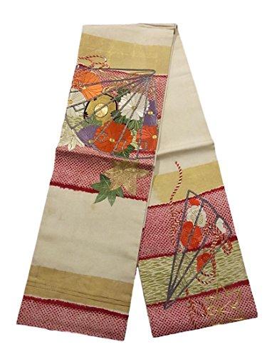 経済的困惑した辛いアンティーク 丸帯  扇に鼓や菊の花模様 刺繍 正絹