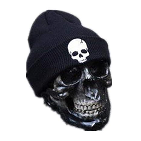 KJNHL Warm Hat Unisex Acrilico Cappello Lavorato a Maglia Cappelli Invernali  Skull Style per Donna e 4db925b1f330