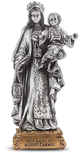 Our Lady of Mt. Carmel Fine Pewter Statue Commissioned to the Absolute Paragon of Detail and Quality, on a Majestic Gold Tone Base. Gift - Base Carmel