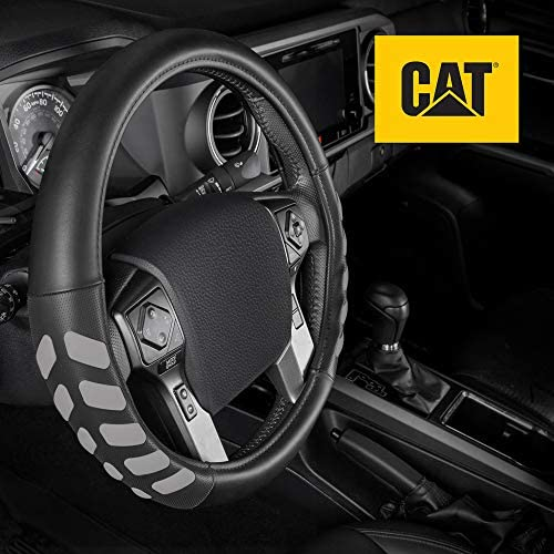 Caterpillar Ultra Sports Grip Leather Steering Wheel Cover ? Strong Durable Protection for Trucks 15.5-16.5\u201d Diameter Wheels