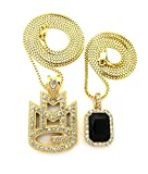 Crown Gold-Plated 2pc Layer MMG Maybach Iced out Stone Pendant Necklaces for Men (Gold/Black)