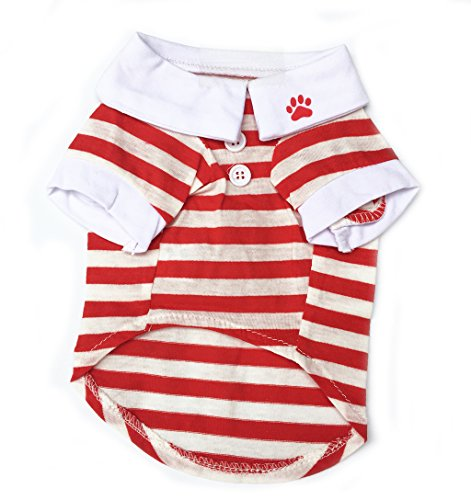 BBEART Pet Clothes, Fashion Simple Small Dogs Stripes Lapel T-shirt Clothing Puppy Cat Polo Shirt Sleeve Apparel Pussy Breathable Clothes for Spring and Summer (M, Red)