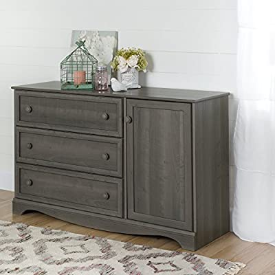 South Shore Savannah 3-Drawer Dresser with Door, Gray Maple